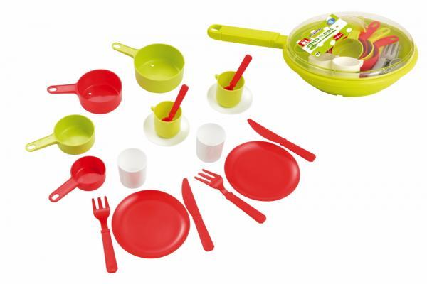 Ecoiffier Spielwelten Küche Zubehör Pfannen-Garnitur mit Geschirr 7600000973