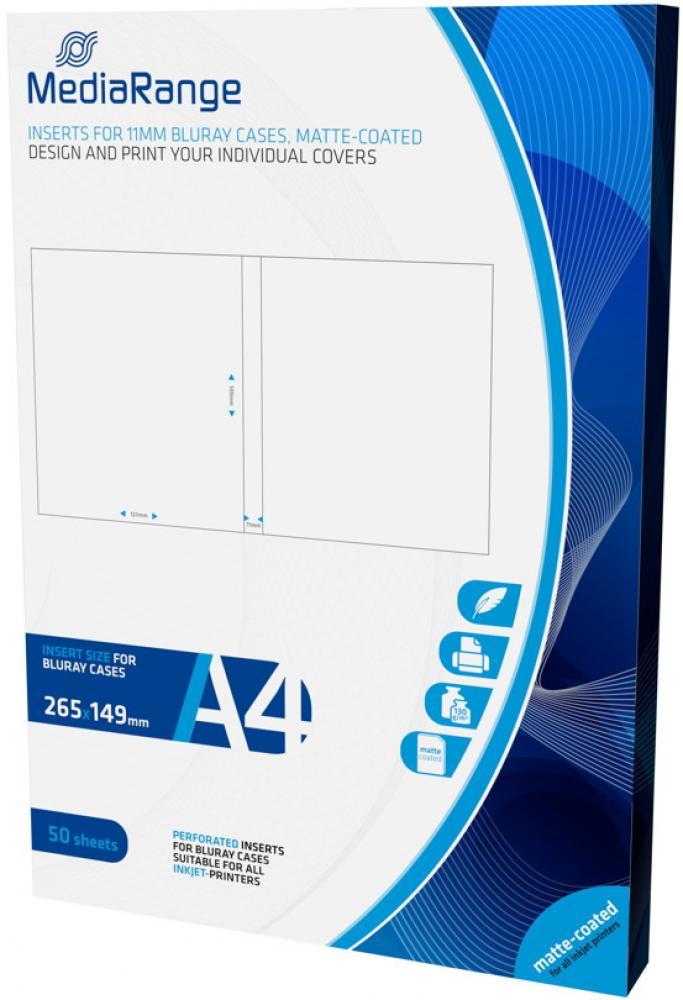 100 Mediarange Inlay zum bedrucken für 11 mm Blu-ray Hüllen MRINK123