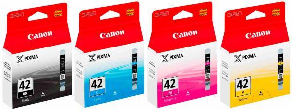 4 Canon Druckerpatronen Tinte CLI-42 BK / C / M / Y Multipack
