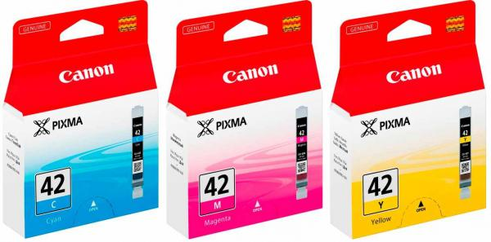 3 Canon Druckerpatronen Tinte CLI-42 C / M / Y Multipack
